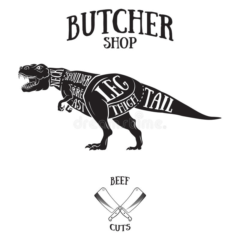 Butcher cuts scheme of dinosaur. Hand-drawn illustration of vintage style royalty free illustration