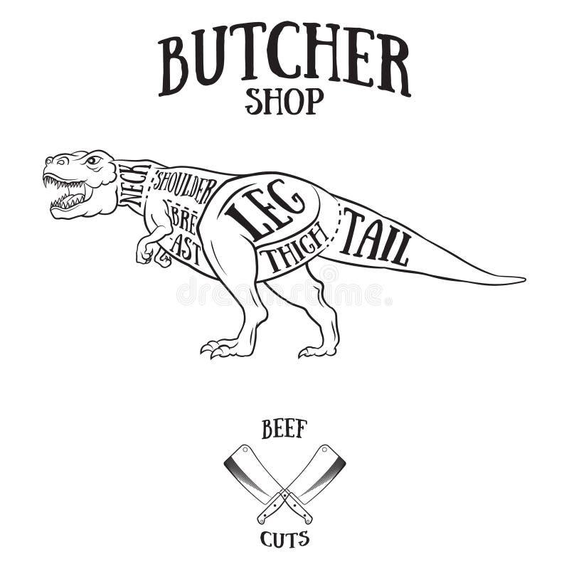 butcher cuts scheme of dinosaur stock illustration