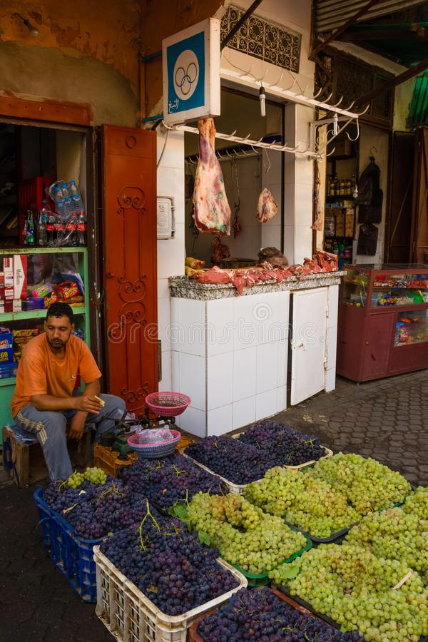 Butcher and greengrocer in the medina. Marrakesh . Morocco stock images