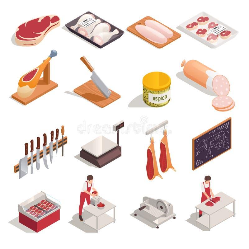 Free Butcher Isometric Set Royalty Free Stock Photos - 169911628