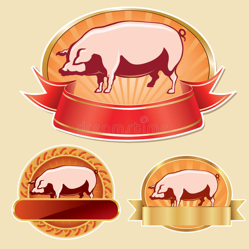 Butcher Label With Pig Stock Image
