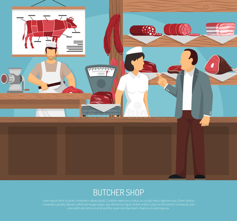 Butcher Meat Shop Flat Poster vector illustration