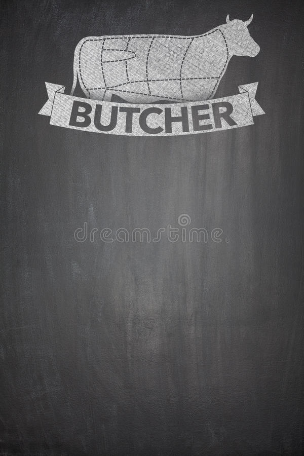 Butcher menu on Blackboard royalty free stock images