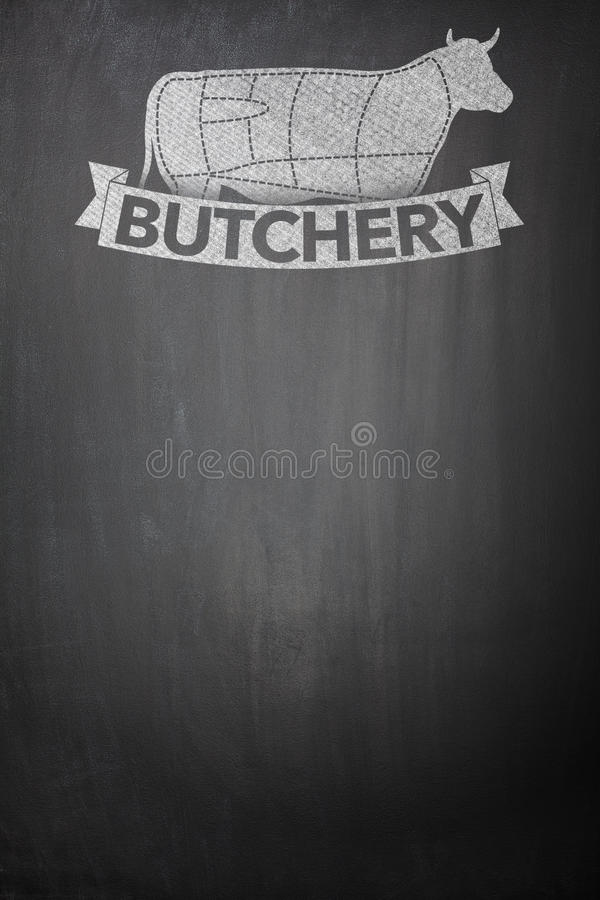 Butcher menu on Blackboard stock images