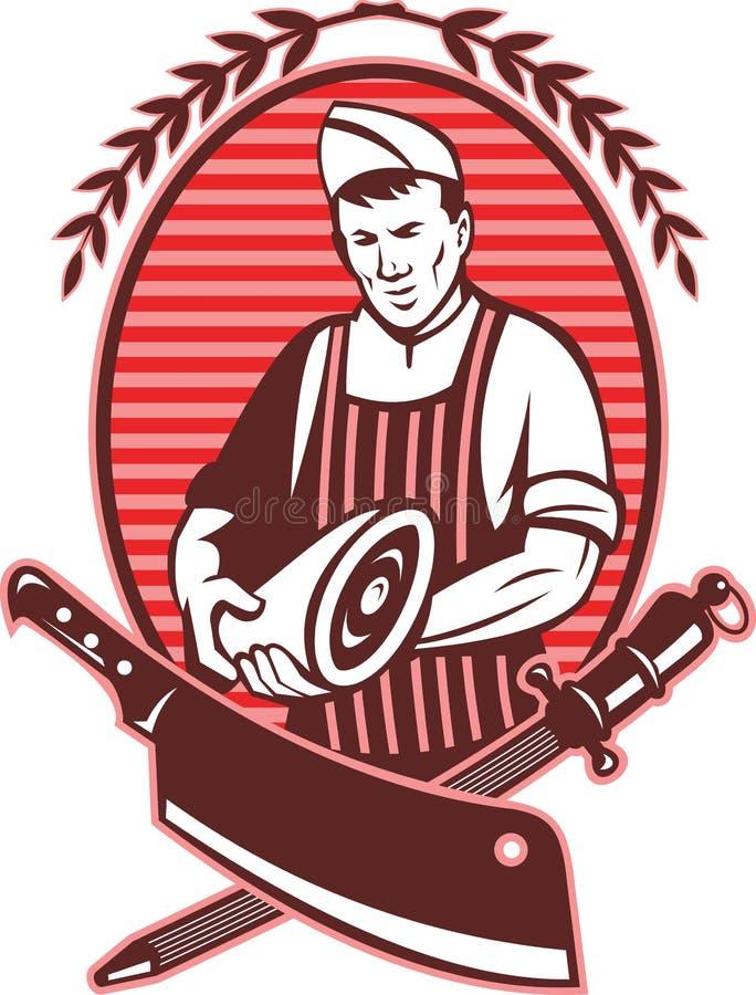 Butcher Pork Meat Knife Royalty Free Stock Images
