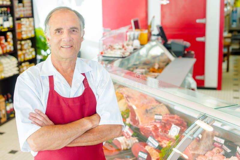 Butcher proud shop stock image