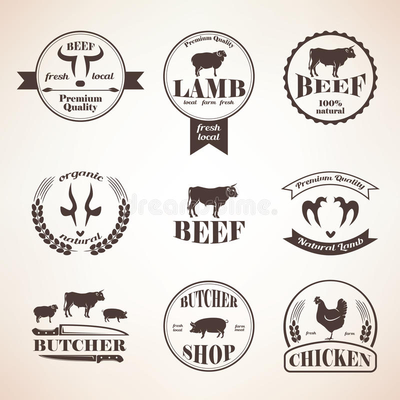 Free Butcher Retro Emblems And Labels Set, Design Elements And Templ Royalty Free Stock Images - 61952239