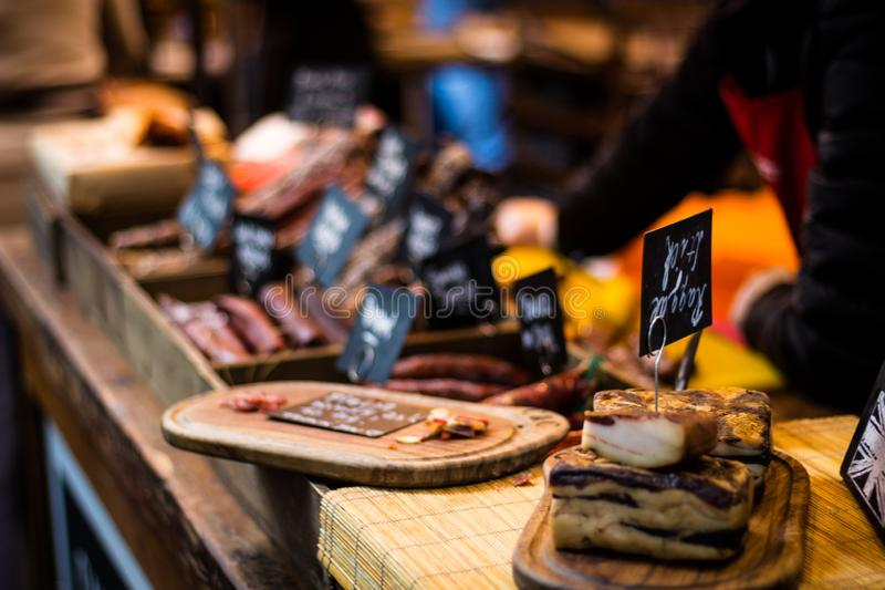 Butcher`s place at Borough Market royalty free stock photo