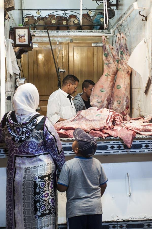 Butcher`s shop in Marrakech - Morocco stock photos