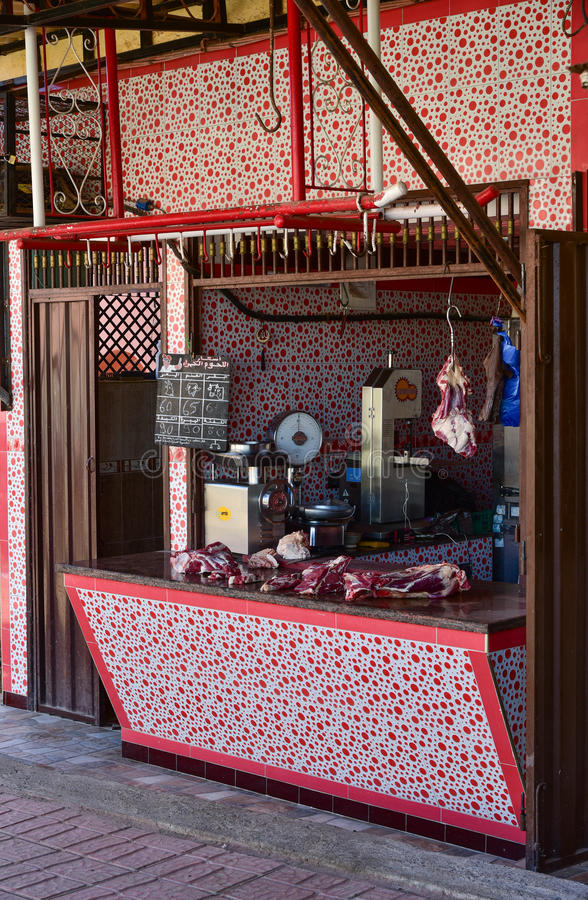 Butcher's shop in Morocco royalty free stock images