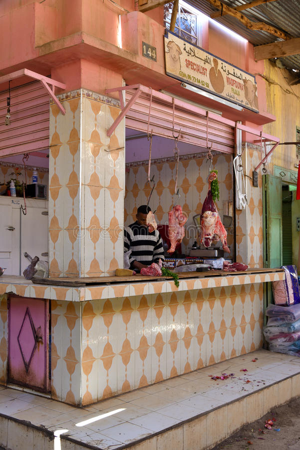 Butcher's shop in Morocco royalty free stock photo