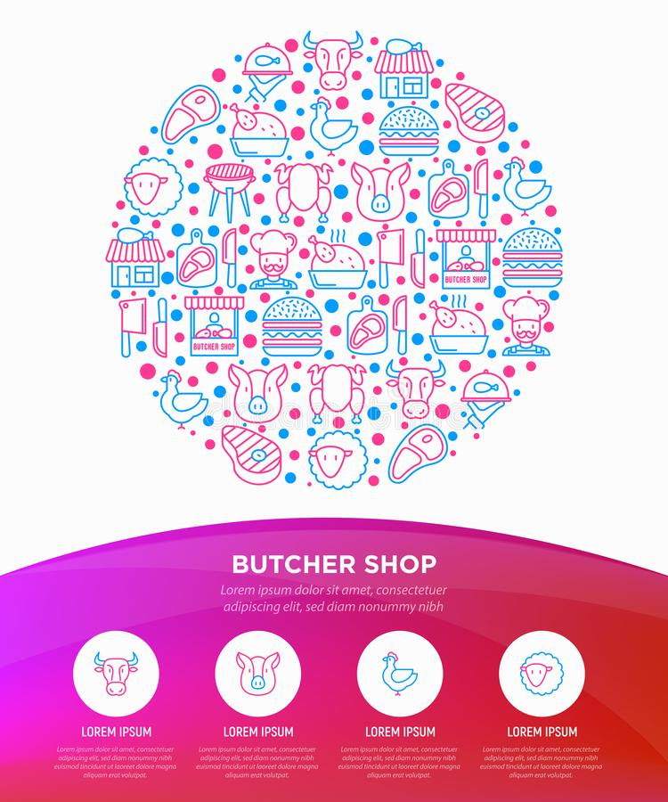 Butcher shop concept in circle with thin line icons: meat steak, beef, pork, mutton, BBQ, chicken, burger, cutting board, meat royalty free illustration