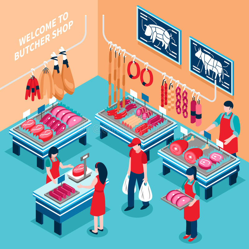 Butcher Shop Inside Isometric Illustration vector illustration