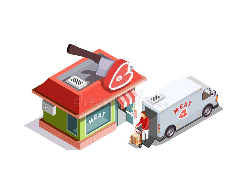 Butcher Shop Isometric Composition vector illustration