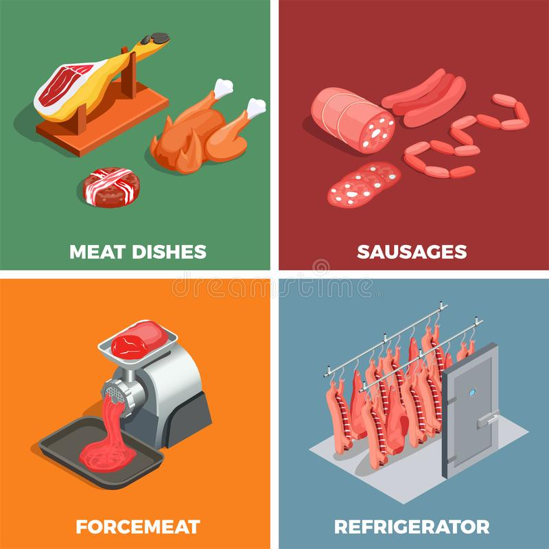 Butcher Shop Isometric Concept vector illustration