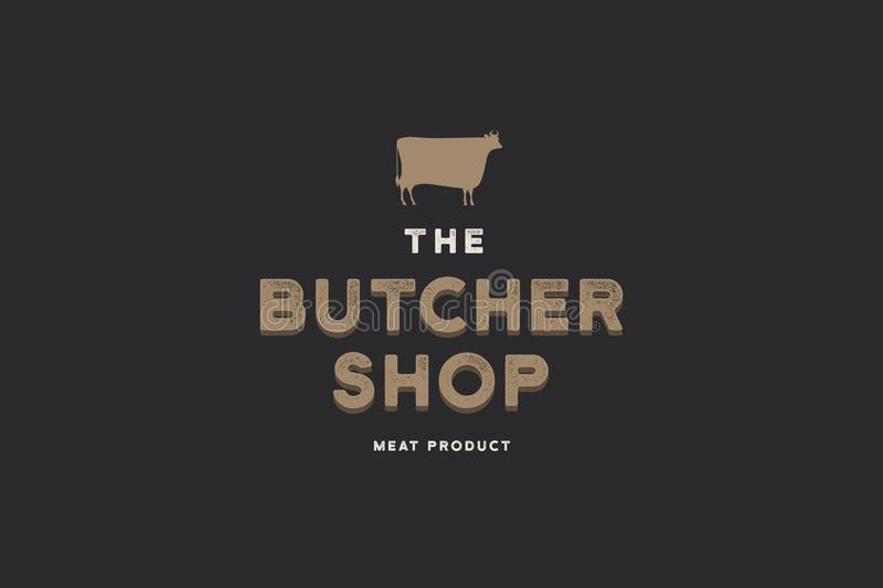Butcher shop logo. Butchery label with sample text. Scheme and silhouette of a cow. Vector vintage illustration royalty free illustration