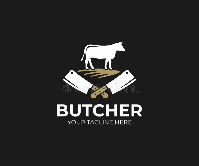 Butcher shop logo template. Cow and meat cleaver knife vector design royalty free illustration