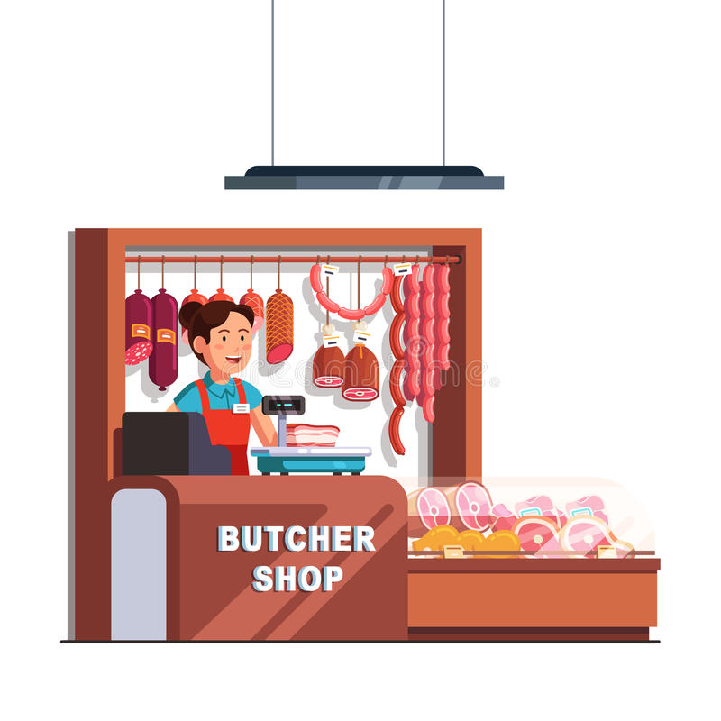 Butcher shop owner woman at checkout counter. Butcher shop owner woman working as cashier at checkout counter and scales. Showcase full of meat products. Small royalty free illustration