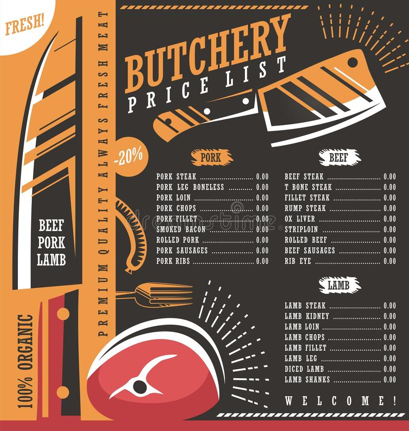Butcher Shop Price List Design. Meat Menu Butchery Creative Ad Or Banner  Template. Graphic Design. Fresh Food Cover Design.