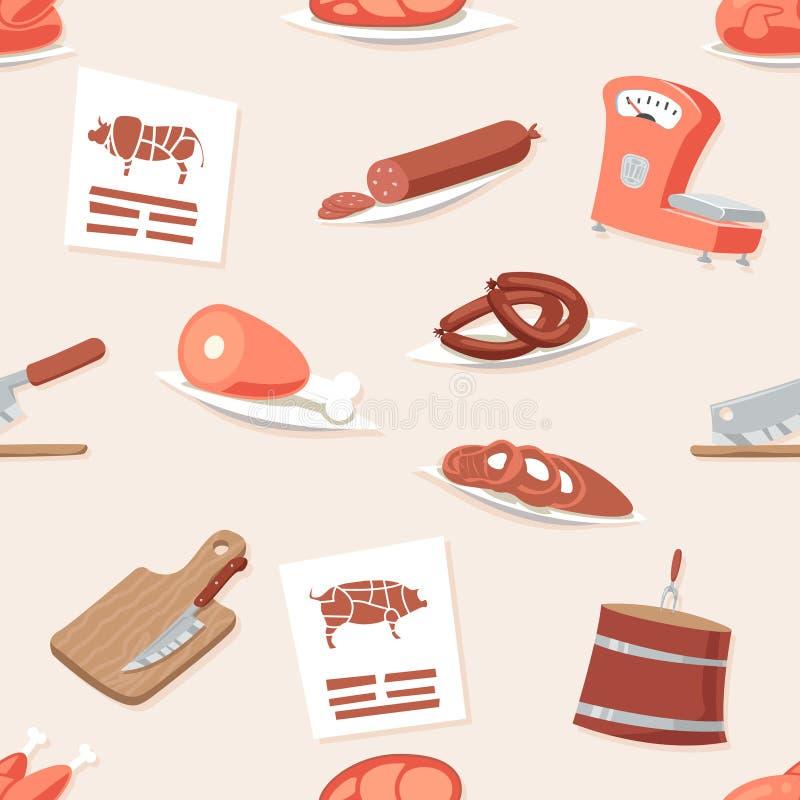 Butcher Shop Seamless Pattern Meat Retro Vintage Cartoon Background Design Icon Set Vector Illustration stock illustration