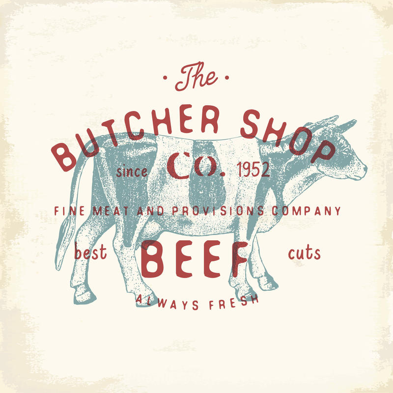 Butcher Shop vintage emblem beef meat products, butchery Logo template retro style. Vintage Design for Logotype, Label, Badge and. Brand design. vector stock illustration