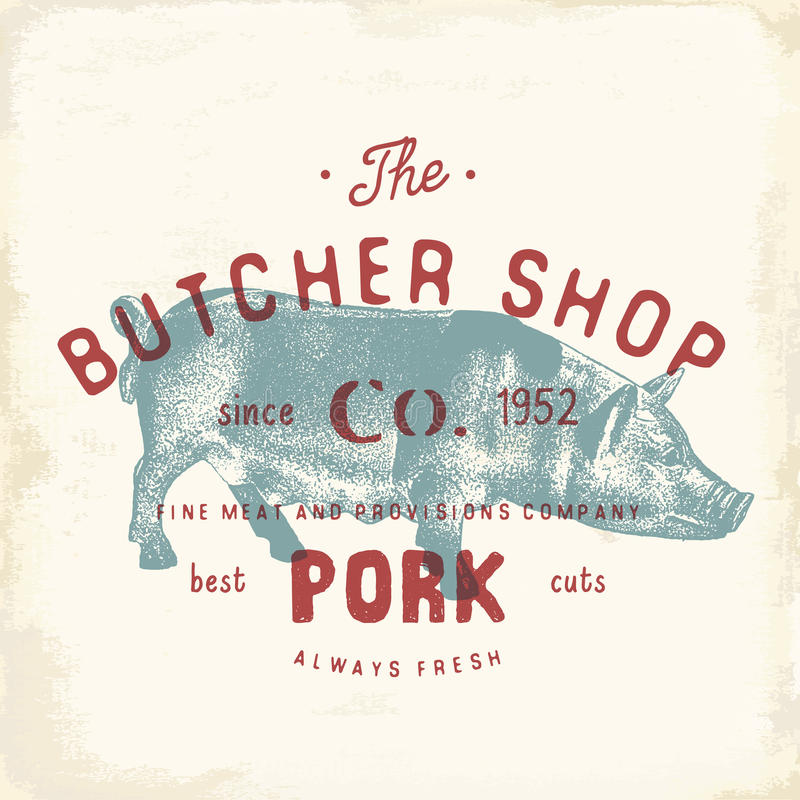 Butcher Shop vintage emblem pork meat products, butchery Logo template retro style. Vintage Design for Logotype, Label, Badge and. Brand design. vector stock illustration