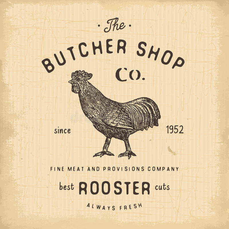 Butcher Shop vintage emblem rooster meat products, butchery Logo template retro style. Vintage Design for Logotype, Label, Badge. And brand design. vector stock illustration