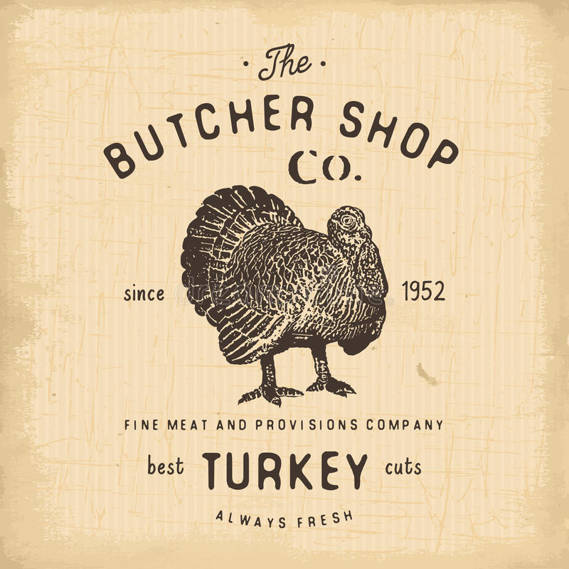 Butcher Shop vintage emblem turkey meat products, butchery Logo template retro style. Vintage Design for Logotype, Label, Badge an. D brand design. vector stock illustration