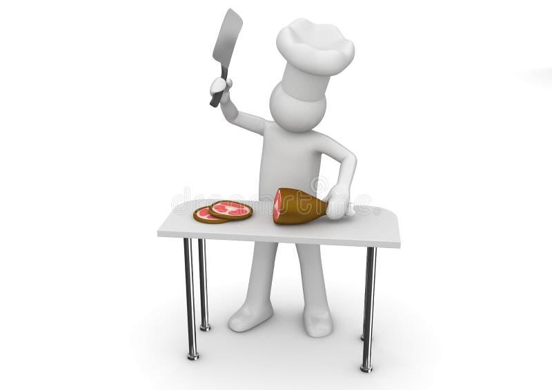 Butcher at work royalty free illustration