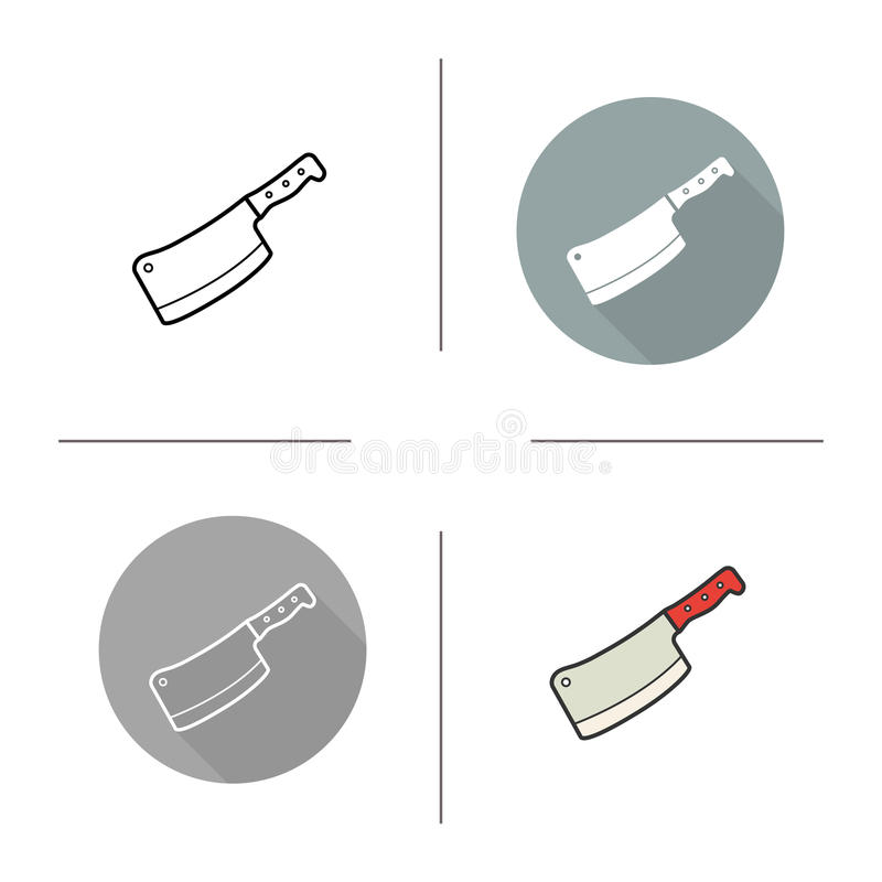 Butchers knife icon. Flat design, linear and color styles. Cleaver. Chopper. vector illustrations stock illustration