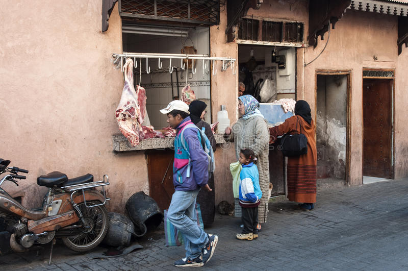 Butchers shop in the medina of Marrakesh royalty free stock image
