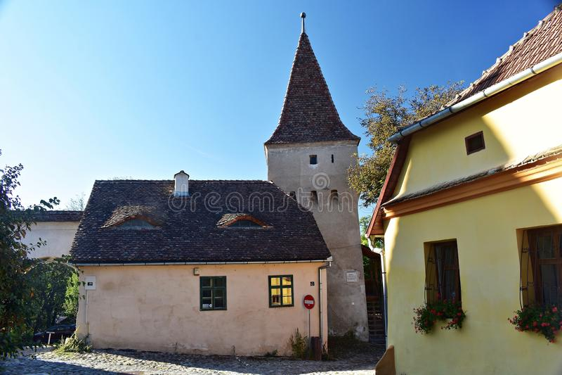 The Butchers` Tower, Turnul Macelarilor, historical tower in the medieval citadel of Sighisoara. The Butchers` Tower, is one of the nine towers located in the stock photo