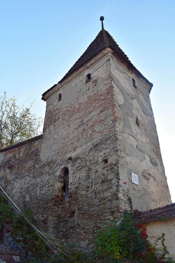 The Butchers` Tower, Turnul Macelarilor, historical tower in the medieval citadel of Sighisoara. The Butchers` Tower, is one of the nine towers located in the royalty free stock photography