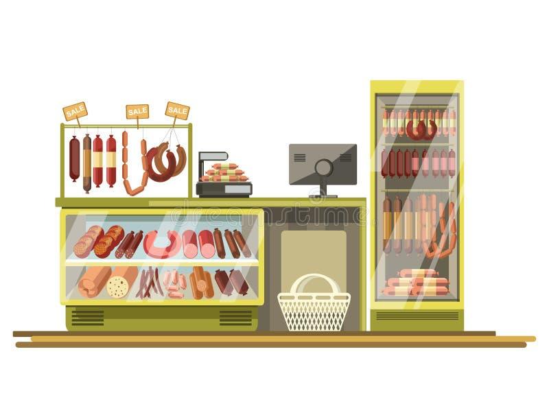 Butchery kiełbas sklep odpierający supermarketa sklepu produktu stojaka wektorowy płaski pokaz ilustracji