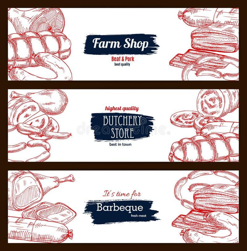Butchery kiełbas sztandarów nakreślenia sklepowy mięsny set royalty ilustracja