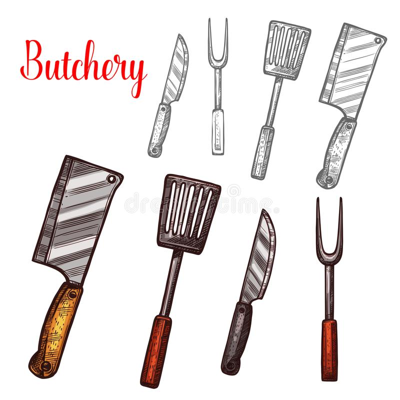 Butchery knives cutlery sketch vector icons. Butcher cutlery or butchery cooking or meat carving kitchen tools. Vector sketch isolated icons of knife or hatchet vector illustration