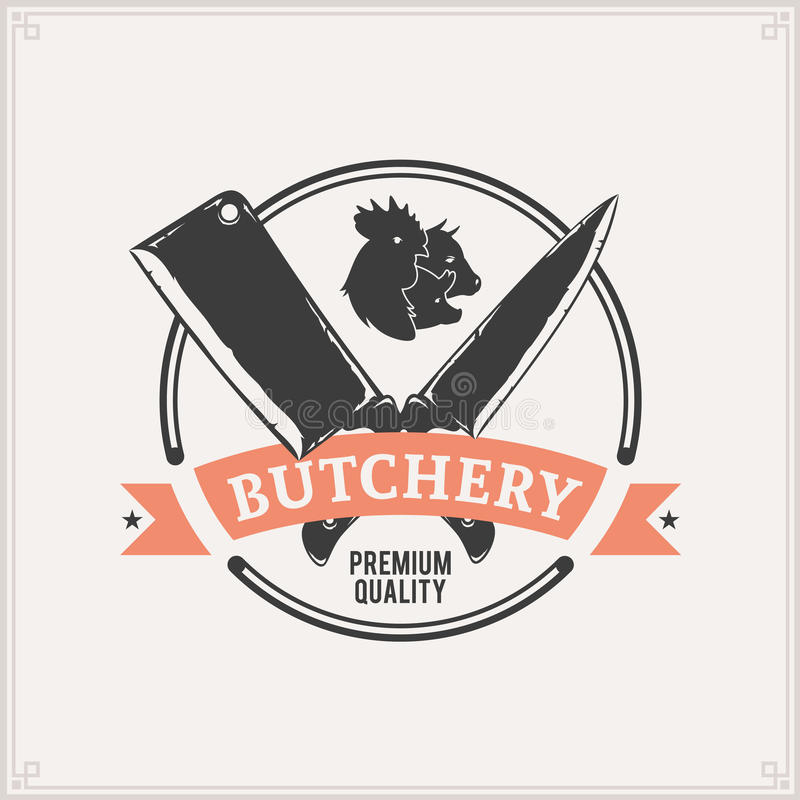 Butchery Label Template. Vintage butchery label template. Can be used for menu, advertisement, banner, placard etc stock illustration