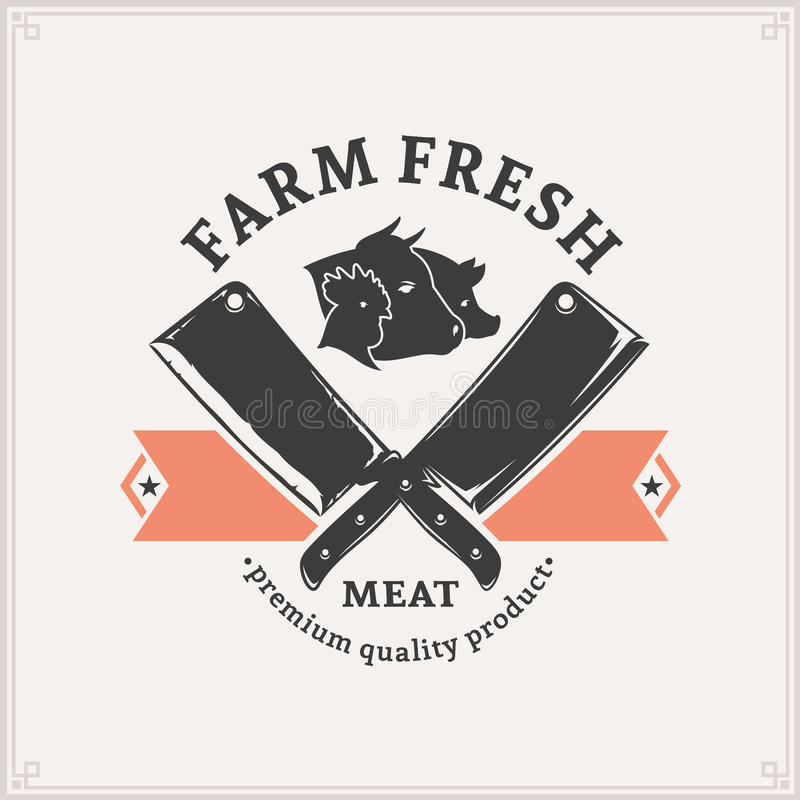 Butchery Logo, Meat Label Template. Vintage butchery label template. Can be used for menu, advertisement, banner, placard etc vector illustration