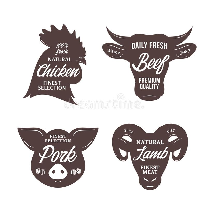 Butchery logo templates. Farm animal icons. For groceries, meat stores, butcher`s shops, packaging and advertising vector illustration