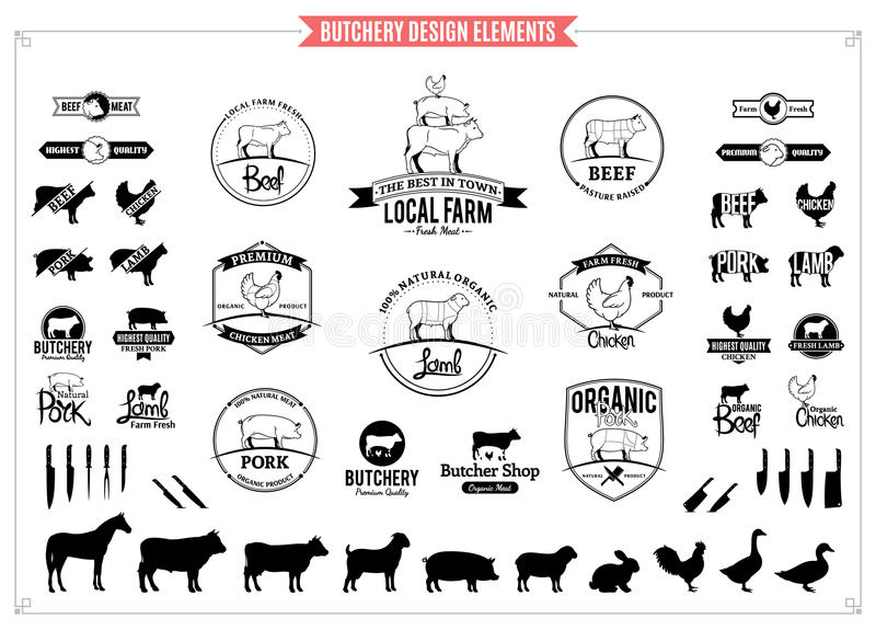 Butchery Logos, Labels, Charts and Design Elements. Lots of butchery design elements for your work stock illustration