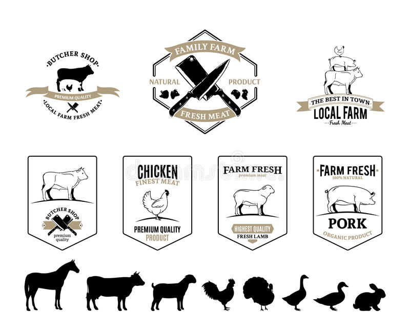 Butchery Logos, Labels, Farm Animals and Design Elements. Butchery shop labels, farm animals and design elements for your work stock illustration