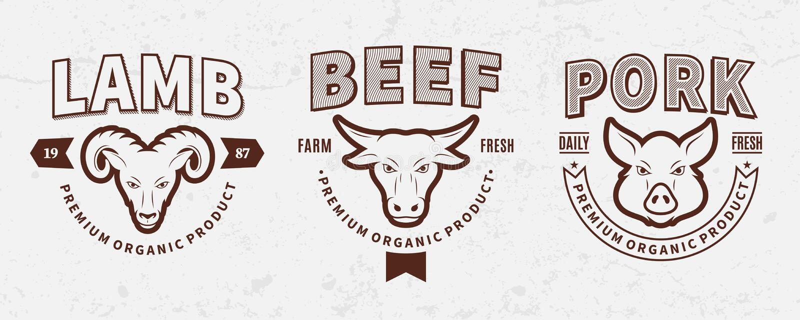 Butchery Logos, Labels, Farm Animals Icons and Design Elements. Set of butchery logo templates. Butchery labels with sample text. Butchery design elements and stock illustration