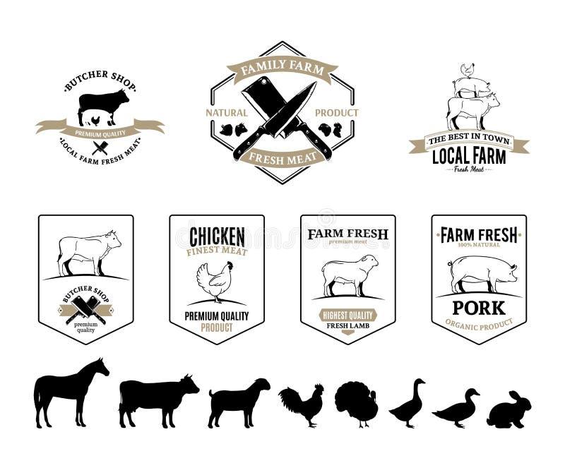Butchery logowie, etykietki, zwierzęta gospodarskie i projektów elementy, ilustracji