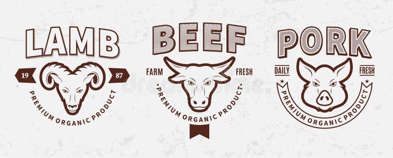 Butchery logowie, etykietki, zwierzęta gospodarskie ikony i projektów elementy, ilustracji