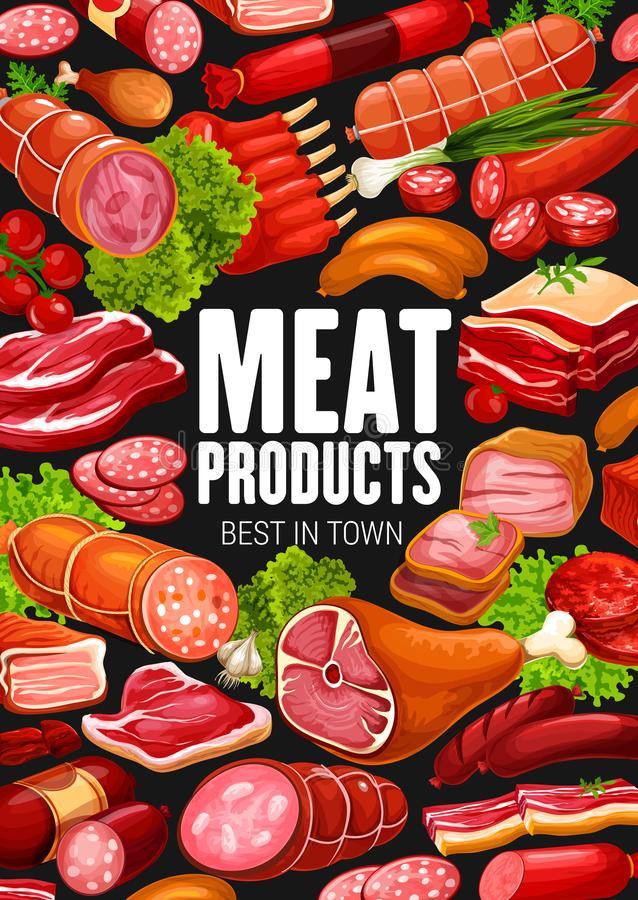Butchery meat sausages, gourmet delicatessen. Meat products and sausages delicatessen food, butcher shop poster. Vector farm butchery salami and cervelat stock illustration