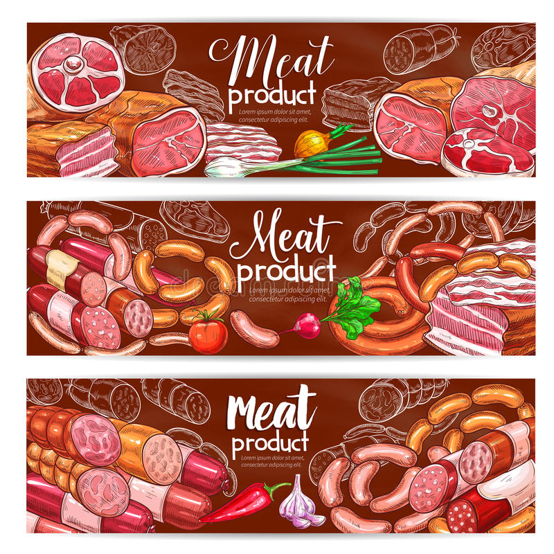Butchery meat and sausages products vector banners. Meat and barbecue sausage products vector banners of smoked brisket, roastbeef and ham bacon, pepperoni, bbq stock illustration