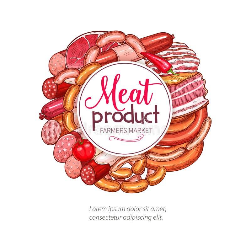 Butchery mięsny kiełbasiany garmażeryjny wektorowy plakat ilustracji