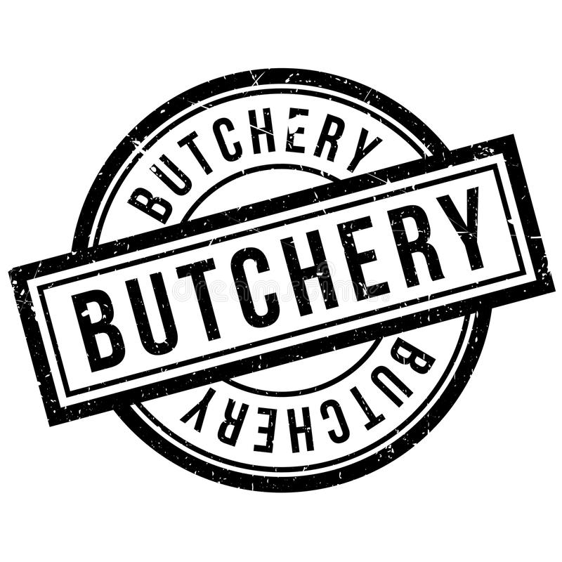 Butchery rubber stamp. Grunge design with dust scratches. Effects can be easily removed for a clean, crisp look. Color is easily changed stock illustration