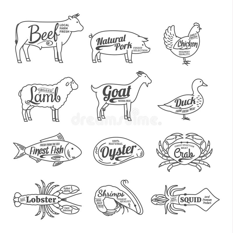 Butchery and Seafood Shop Logo. Vector Farm Animals and Seafood. Set of butchery and seafood logo. Farm animals and seafood with sample text. Farm animals and royalty free illustration