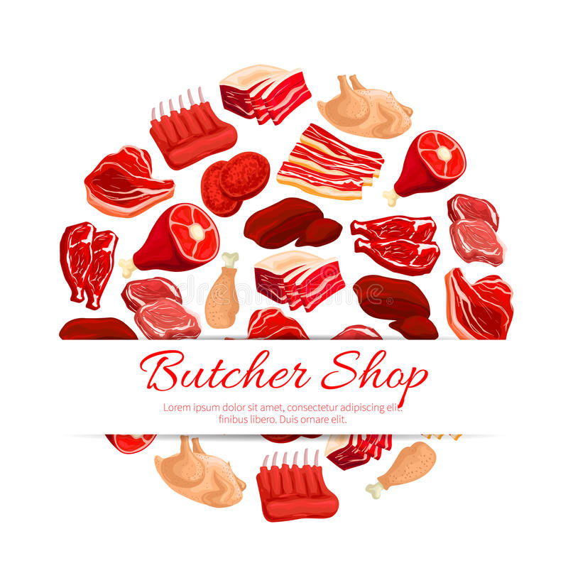 Butchery shop fresh meat vector poster. Butchery shop poster of vector fresh meat assortment. Butcher and farm beefsteak, beef raw filet and steak, t-bone royalty free illustration